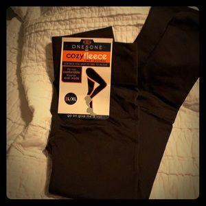 Chocolate brown fleece-lined leggings NWT